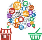 Shopping concept. Concept of retail process with shop and shopping icons Royalty Free Stock Photos