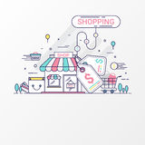 Shopping concept. This set contains graphic elements, price tag, store, shop, shopping bag, cart, basket, coin and credit card. Stock Photo