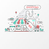Shopping concept. This set contains graphic elements, price tag, store, shop, shopping bag, cart, basket, coin and credit card Stock Photography