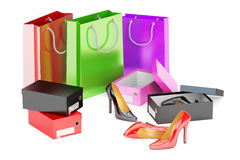 Shopping concept. Shoes, shopping, bags and shoeboxes, 3D render Stock Photos