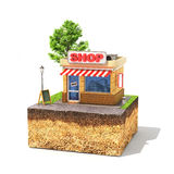 Shopping concept. Shop on a piece of sliced ground with tree and green board on a grass. Small business property. 3d illustration Stock Photography