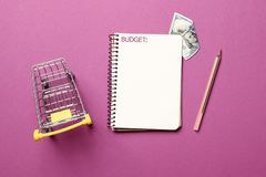 Hopping cart, blank paper notebook with pen on a pink background royalty free stock images