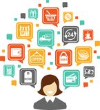 Shopping concept. Silhouette of a woman with many shopping icons Stock Photography