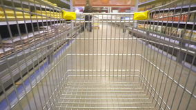 Shopping concept in supermarket for fast consumer lifestyle. Volgograd, Russian Federation – February 05, 2017: Shopping concept in supermarket for fast stock footage