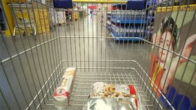 Shopping concept in supermarket for fast consumer lifestyle. Volgograd, Russian Federation – February 17, 2017: Shopping concept in supermarket for fast stock footage