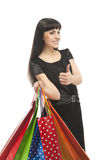 Shopping Concept: Thumbs Up Cool Sign of Woman Royalty Free Stock Images