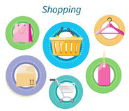 Shopping Consumerism Flat Design Style Royalty Free Stock Photo