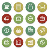 Shopping contour icons on color buttons. Stock Photos