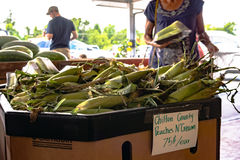 Shopping for corn at Durban Farms Market. Clanton, Alabama, USA - June 17, 2017: Customers shop for fresh produce at the Durban Farms Market in Chilton County Royalty Free Stock Photo