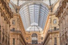 Shopping corridor in Milan. Shopping corridor galleria vittorio emanuele ii in MIlan near the Dome royalty free stock photos