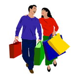 Shopping Couple. A colorful illustration of a shopping couple, isolated on a white background Stock Images