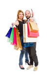 Shopping couple and credit or debit card Royalty Free Stock Images