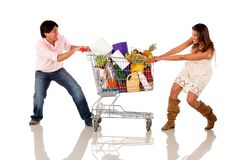 Shopping couple fighting Royalty Free Stock Photo