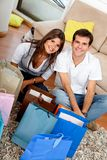 Shopping couple at home Royalty Free Stock Photos