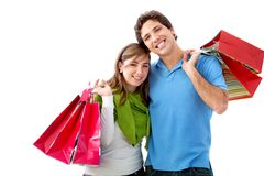 Shopping couple isolated Stock Photography