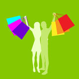 Shopping Couple Man and Woman Silhouette with Bags Royalty Free Stock Photo