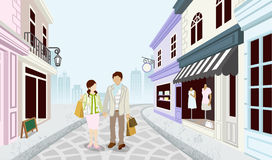 Shopping couple in Old fashioned town-EPS10 Royalty Free Stock Image