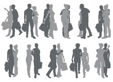 Shopping couple silhouettes Royalty Free Stock Photo