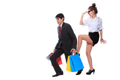 Shopping couple smiling Stock Image