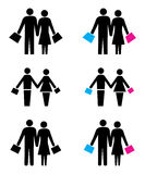 Shopping couples logo Stock Photos