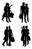 Shopping Couples Silhouettes Stock Image