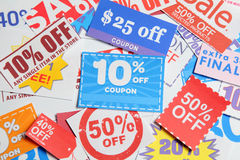 Shopping coupons. Group of the Shopping coupons Stock Photos