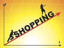 Shopping. The shopping. Crazy spending on clothes. Vector format royalty free illustration