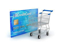 Shopping - credit card and shopping cart Stock Image