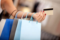 Shopping with a credit or debit card Stock Photo