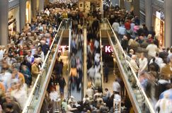 Shopping crowd. Busy shopping center on saturday Stock Photo