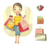 Shopping day. Girl with shopping and various design elements on shopping: bags, purse, kriditnye card. Vector illustration Royalty Free Stock Photography