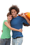 Shopping day. Young couple holding shopping bags Royalty Free Stock Photo