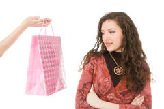 Shopping day. Woman's shopping day isolated on white background Stock Photo