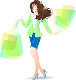 Shopping Day girl in spring. Vector illustration Royalty Free Stock Photography