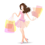 Shopping Day girl in summer. Vector illustration girl in summer Shopping Day Stock Images
