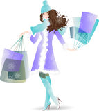 Shopping Day girl in  winter Royalty Free Stock Image
