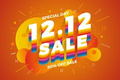 12.12 Shopping day sale banner background. 12 December sale poster template. Vector illustration stock illustration