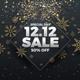 12.12 Shopping day sale banner background. 12 December sale poster template. Vector illustration royalty free illustration