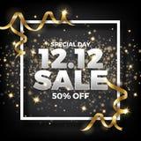 12.12 Shopping day sale banner background. 12 December sale post. Er template. Vector illustration stock illustration