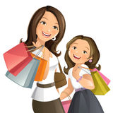 Shopping day. Vector illustration of a young mom shopping with her daughter stock illustration