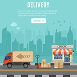 Shopping and Delivery Concept. With flat Icons Set for e-commerce marketing and advertising with shop, delivery, truck and cityline. Vector illustration Stock Photography
