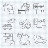 Shopping and delivery icons set Stock Photo