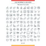 Shopping and delivery line icons. Shopping and delivery icons set. Modern icons on theme commerce, shopping, payments and business. Thin line design icons Royalty Free Stock Photos
