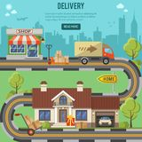 Shopping and Delivery Concept. Shopping, Delivery and Logistic concept with flat Icons for e-commerce marketing and advertising like shop, delivery, truck and Stock Photo