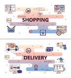 Vector line art shopping poster banner template Stock Photography