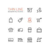 Shopping and Delivery Symbols - thick line design icons set Royalty Free Stock Image