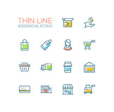 Shopping and Delivery Symbols - thick line design icons set Stock Photos