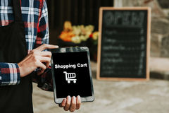 Shopping with digital tablet Royalty Free Stock Image