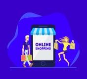Shopping direktanslutet, folkshopping genom att använda Smartphone, lycklig ung man och kvinna med shoppingpåsar, internetshopp royaltyfri illustrationer