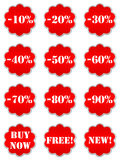 Shopping discount. Vector illustration of buttons discount percentages Royalty Free Stock Images